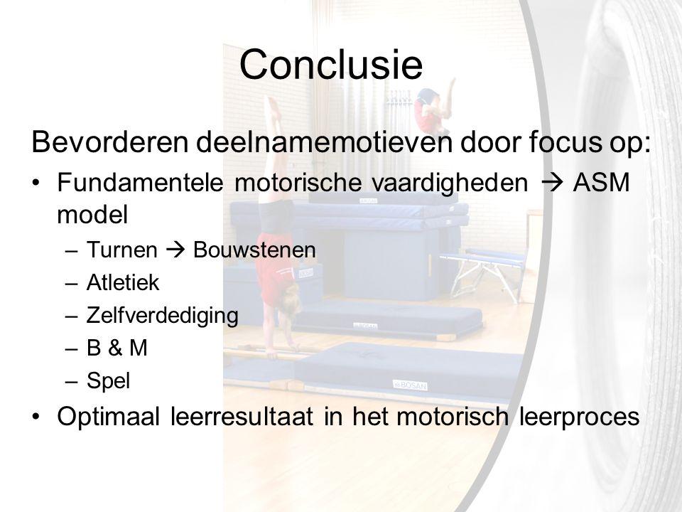 Conclusie Bevorderen deelnamemotieven door focus op: Fundamentele motorische vaardigheden  ASM model –Turnen  Bouwstenen –Atletiek –Zelfverdediging