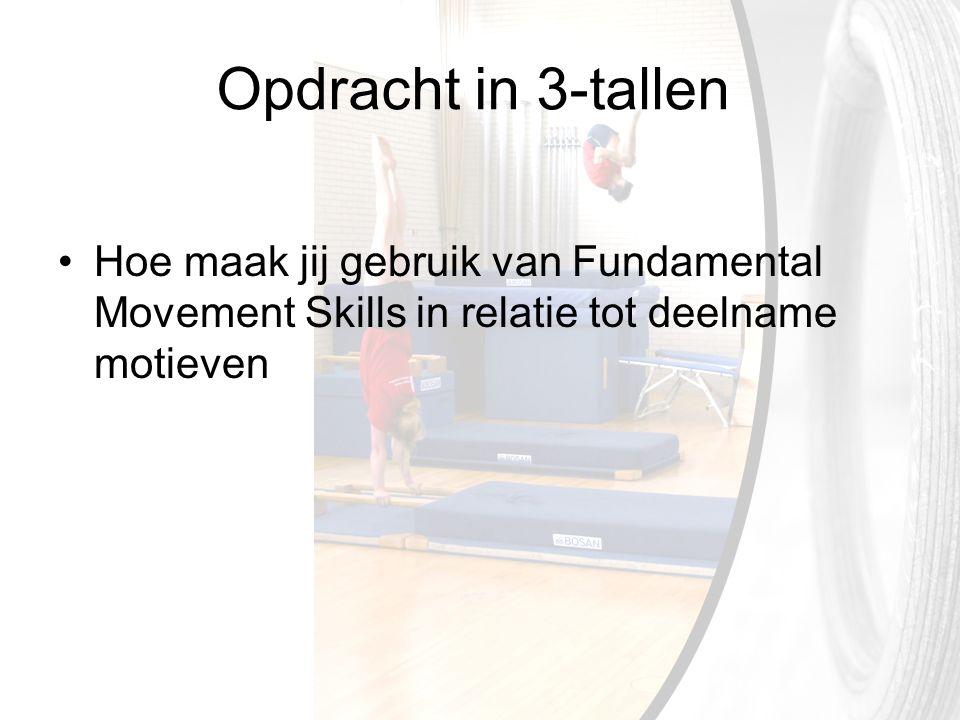 Opdracht in 3-tallen Hoe maak jij gebruik van Fundamental Movement Skills in relatie tot deelname motieven
