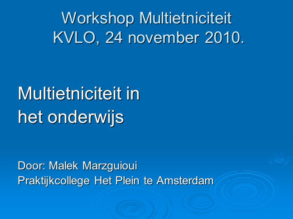 Workshop Multietniciteit KVLO, 24 november 2010. Multietniciteit in het onderwijs Door: Malek Marzguioui Praktijkcollege Het Plein te Amsterdam