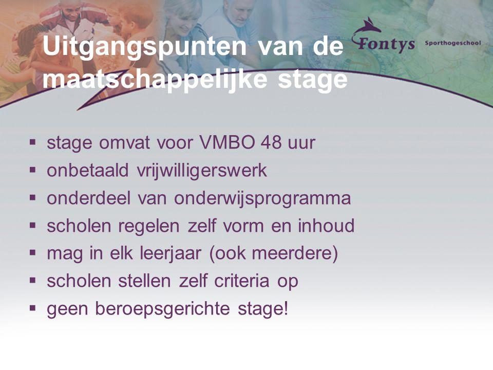 Uitgangspunten van de maatschappelijke stage  stage omvat voor VMBO 48 uur  onbetaald vrijwilligerswerk  onderdeel van onderwijsprogramma  scholen