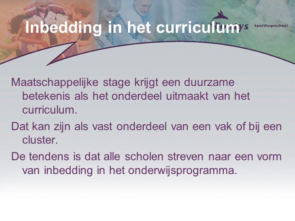 Inbedding in het curriculum Maatschappelijke stage krijgt een duurzame betekenis als het onderdeel uitmaakt van het curriculum. Dat kan zijn als vast