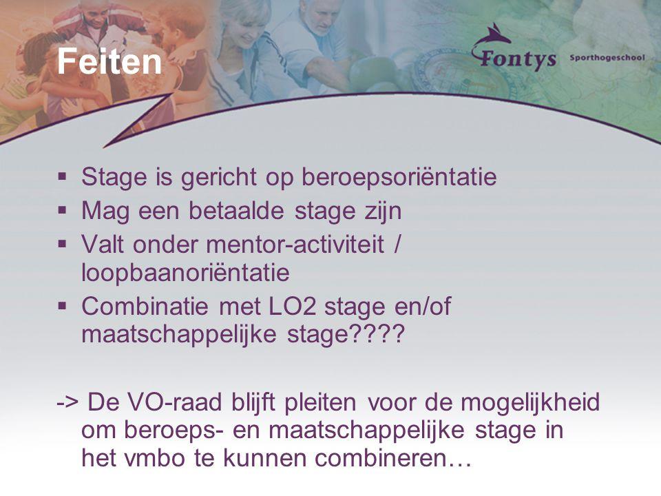 Feiten  Stage is gericht op beroepsoriёntatie  Mag een betaalde stage zijn  Valt onder mentor-activiteit / loopbaanoriёntatie  Combinatie met LO2