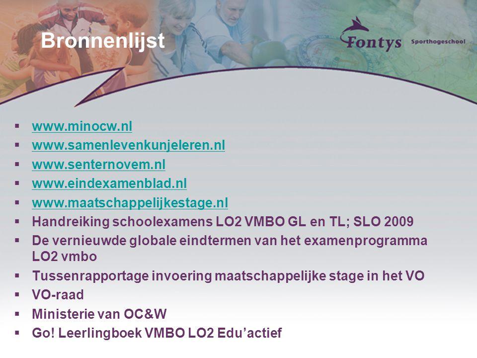 Bronnenlijst  www.minocw.nl www.minocw.nl  www.samenlevenkunjeleren.nl www.samenlevenkunjeleren.nl  www.senternovem.nl www.senternovem.nl  www.ein