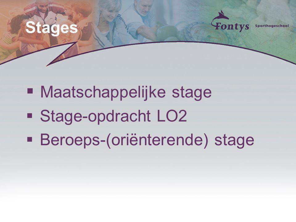 Stages  Maatschappelijke stage  Stage-opdracht LO2  Beroeps-(oriёnterende) stage