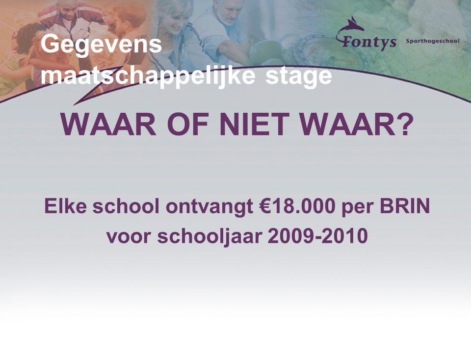 Gegevens maatschappelijke stage WAAR OF NIET WAAR? Elke school ontvangt €18.000 per BRIN voor schooljaar 2009-2010