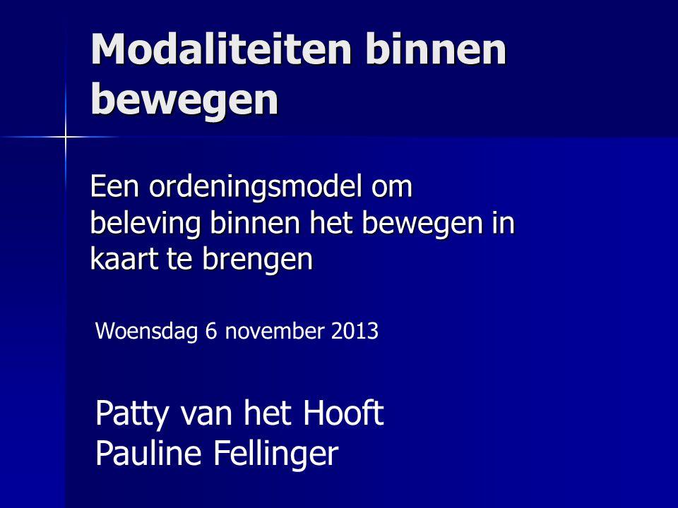 Modaliteiten binnen bewegen Een ordeningsmodel om beleving binnen het bewegen in kaart te brengen Patty van het Hooft Pauline Fellinger Woensdag 6 nov