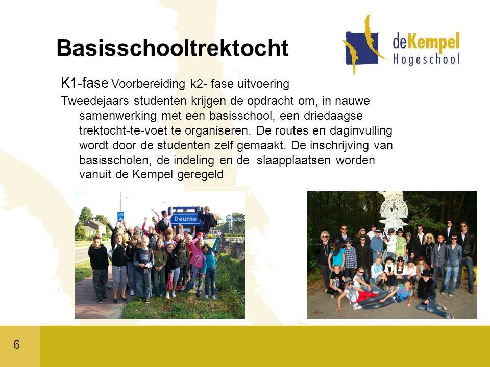 6 Basisschooltrektocht K1-fase Voorbereiding k2- fase uitvoering Tweedejaars studenten krijgen de opdracht om, in nauwe samenwerking met een basisschool, een driedaagse trektocht-te-voet te organiseren.