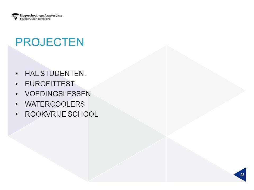 PROJECTEN HAL STUDENTEN. EUROFITTEST VOEDINGSLESSEN WATERCOOLERS ROOKVRIJE SCHOOL 23