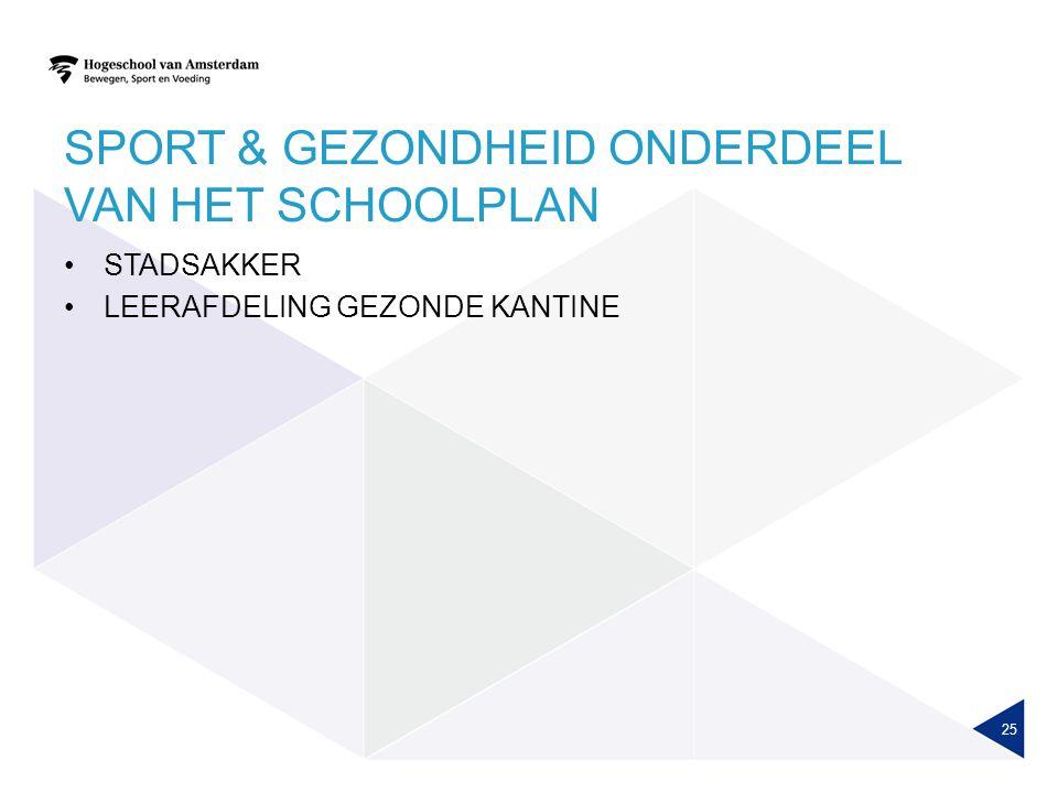 SPORT & GEZONDHEID ONDERDEEL VAN HET SCHOOLPLAN STADSAKKER LEERAFDELING GEZONDE KANTINE 25