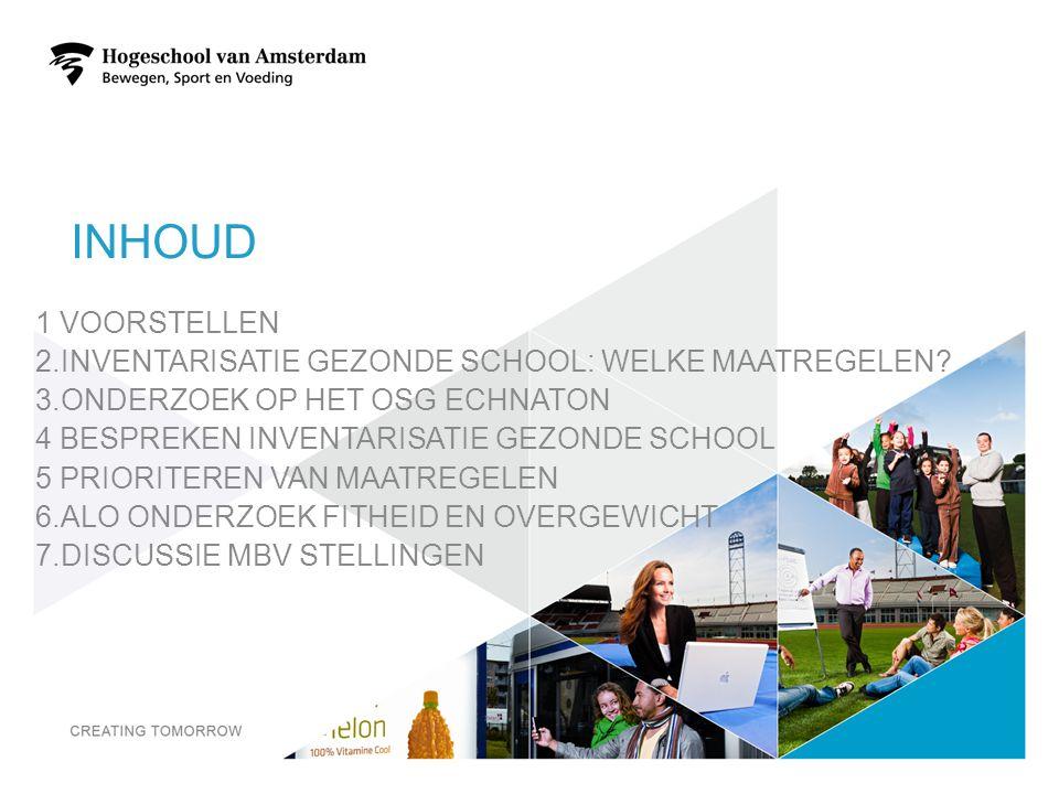 INHOUD 1 VOORSTELLEN 2.INVENTARISATIE GEZONDE SCHOOL: WELKE MAATREGELEN.