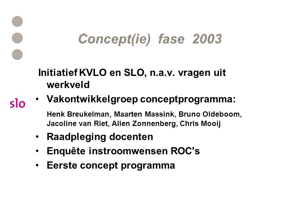 Concept(ie) fase 2003 Initiatief KVLO en SLO, n.a.v.