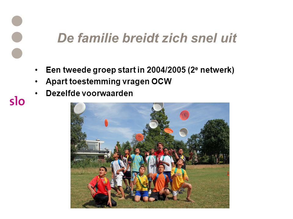 De familie breidt zich snel uit Een tweede groep start in 2004/2005 (2 e netwerk) Apart toestemming vragen OCW Dezelfde voorwaarden
