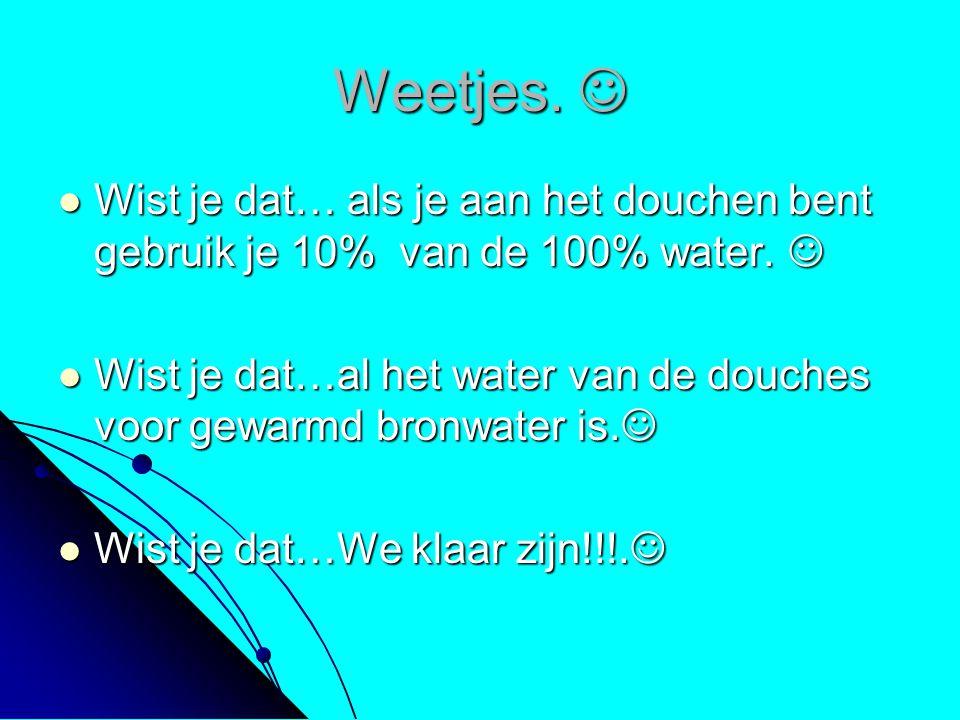 Weetjes. Weetjes. Wist je dat… als je aan het douchen bent gebruik je 10% van de 100% water. Wist je dat… als je aan het douchen bent gebruik je 10% v