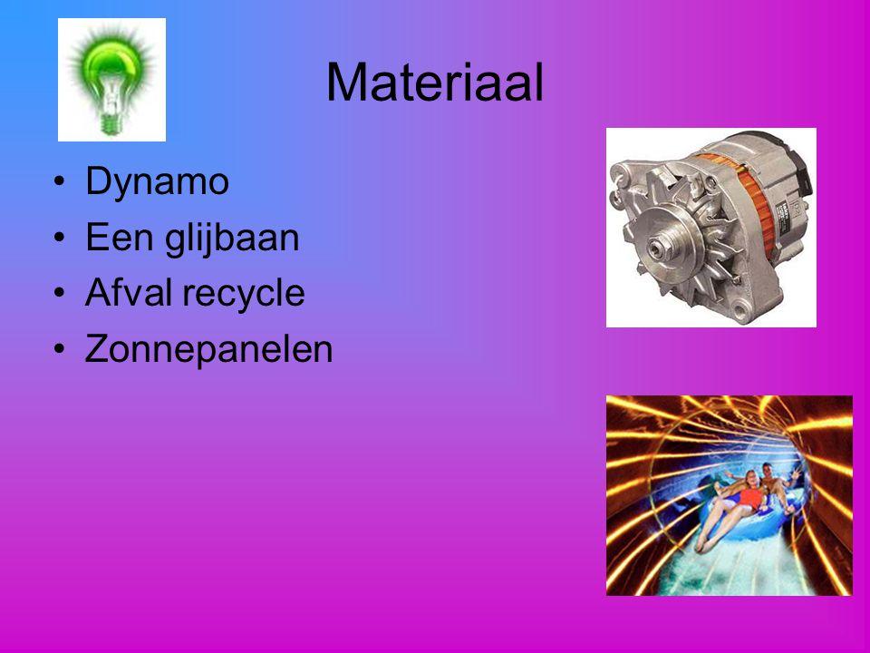Materiaal Dynamo Een glijbaan Afval recycle Zonnepanelen