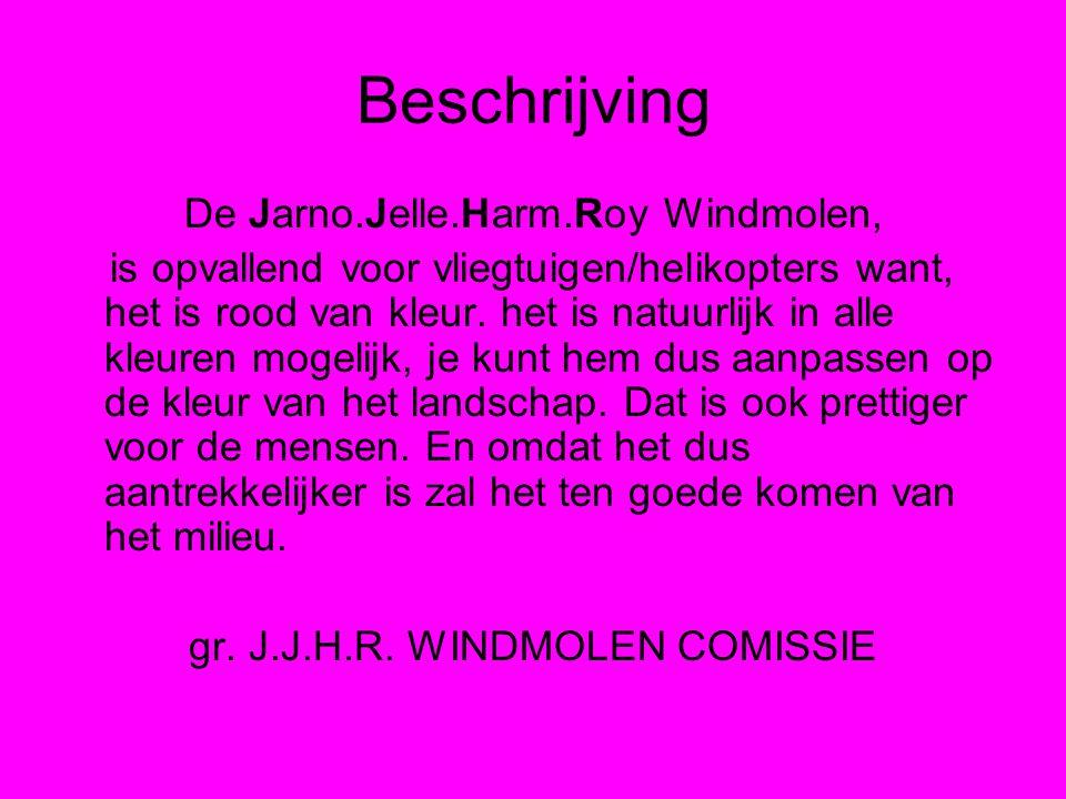 Beschrijving De Jarno.Jelle.Harm.Roy Windmolen, is opvallend voor vliegtuigen/helikopters want, het is rood van kleur.