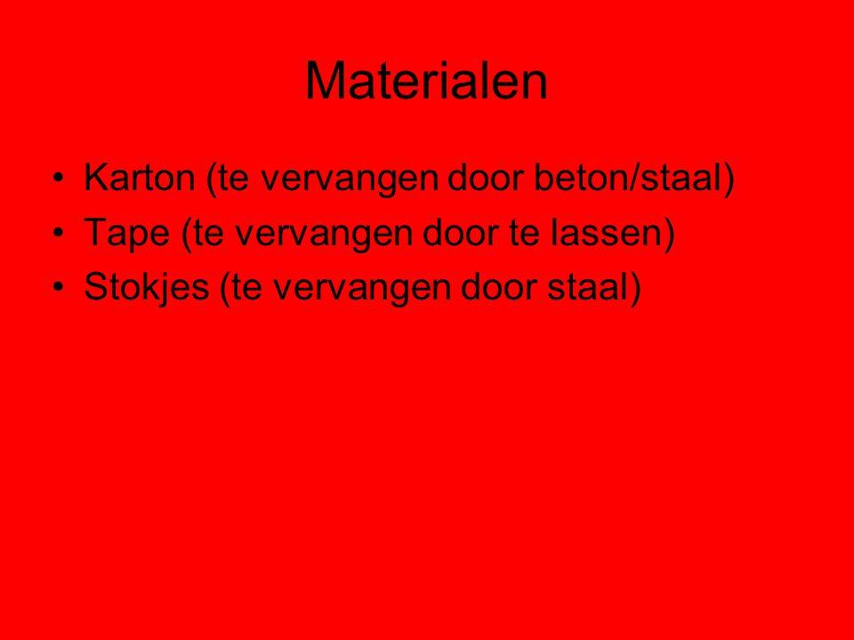 Materialen Karton (te vervangen door beton/staal) Tape (te vervangen door te lassen) Stokjes (te vervangen door staal)