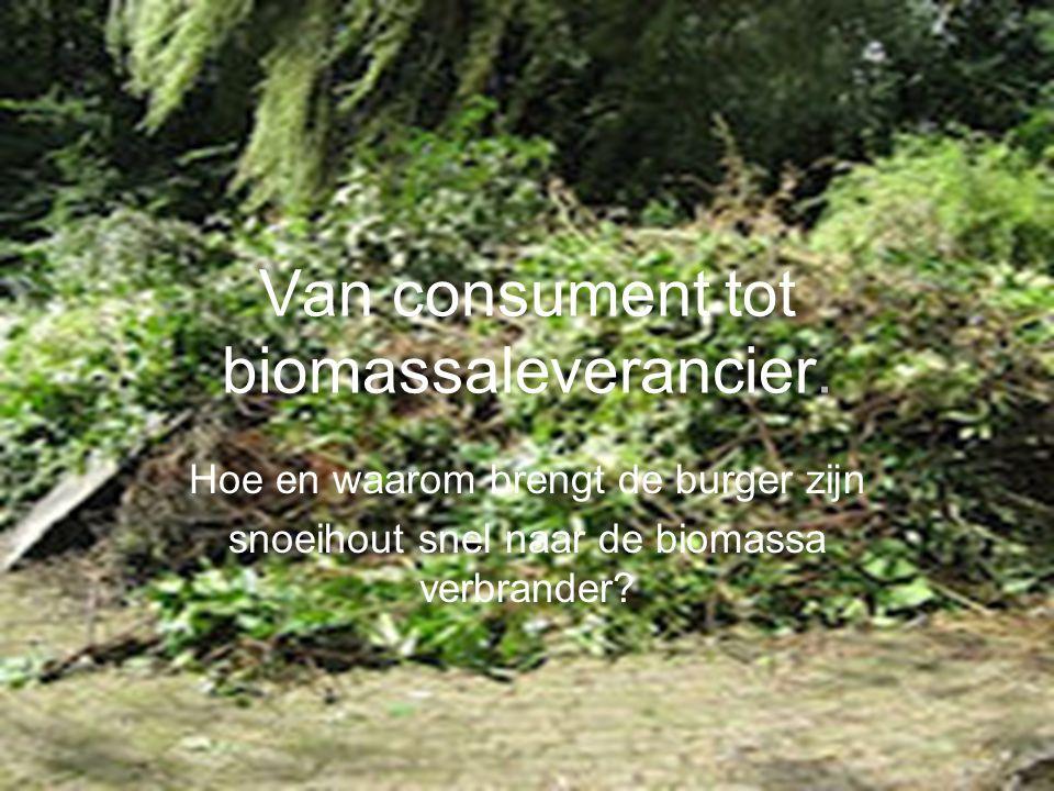 Hoe en waarom brengt de burger zijn snoeihout snel naar de biomassa verbrander.