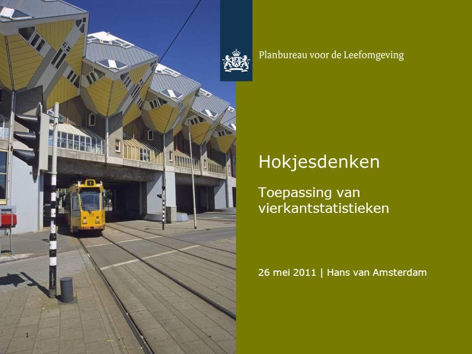 26 mei 2011   Hans van Amsterdam Toepassing van vierkantstatistieken 22 Functiemenging WoonfunctieGemengdWerkfunctieTotaal Oppervlak 63%27%10%100% Woningen 73%25%2%100% Banen 4%24%72%100% Bedrijfsvestigingen 18%43%39%100%