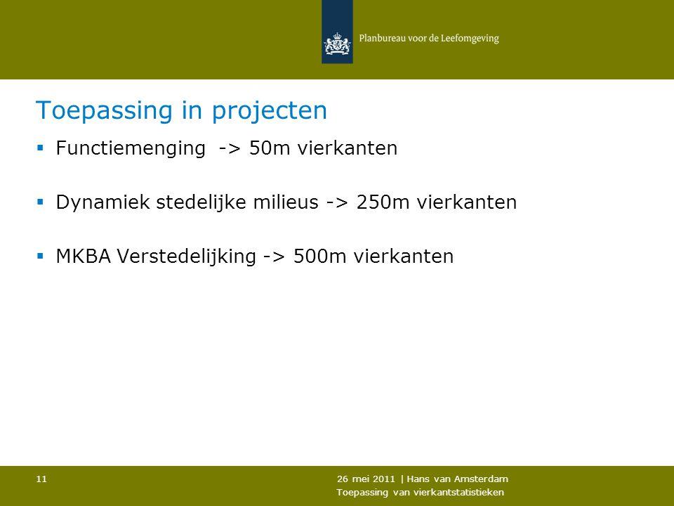 26 mei 2011 | Hans van Amsterdam Toepassing van vierkantstatistieken 11 Toepassing in projecten  Functiemenging -> 50m vierkanten  Dynamiek stedelij