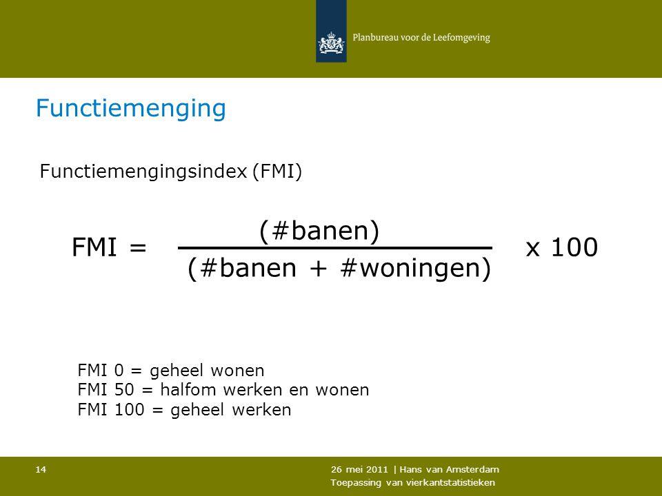 26 mei 2011 | Hans van Amsterdam Toepassing van vierkantstatistieken 14 Functiemenging Functiemengingsindex (FMI) (#banen) (#banen + #woningen) FMI =x