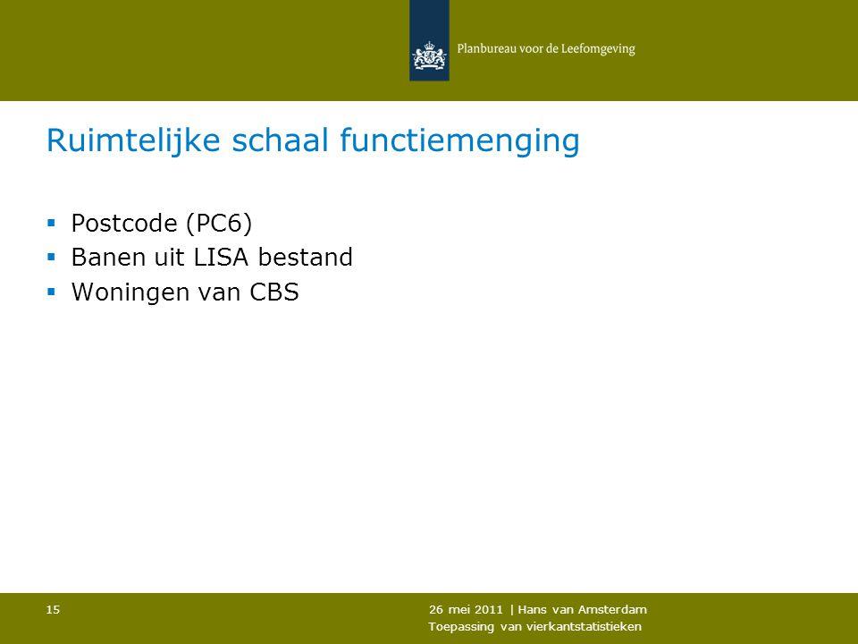 26 mei 2011 | Hans van Amsterdam Toepassing van vierkantstatistieken 15 Ruimtelijke schaal functiemenging  Postcode (PC6)  Banen uit LISA bestand 