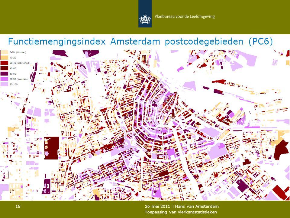 26 mei 2011 | Hans van Amsterdam Toepassing van vierkantstatistieken 16 Functiemengingsindex Amsterdam postcodegebieden (PC6)