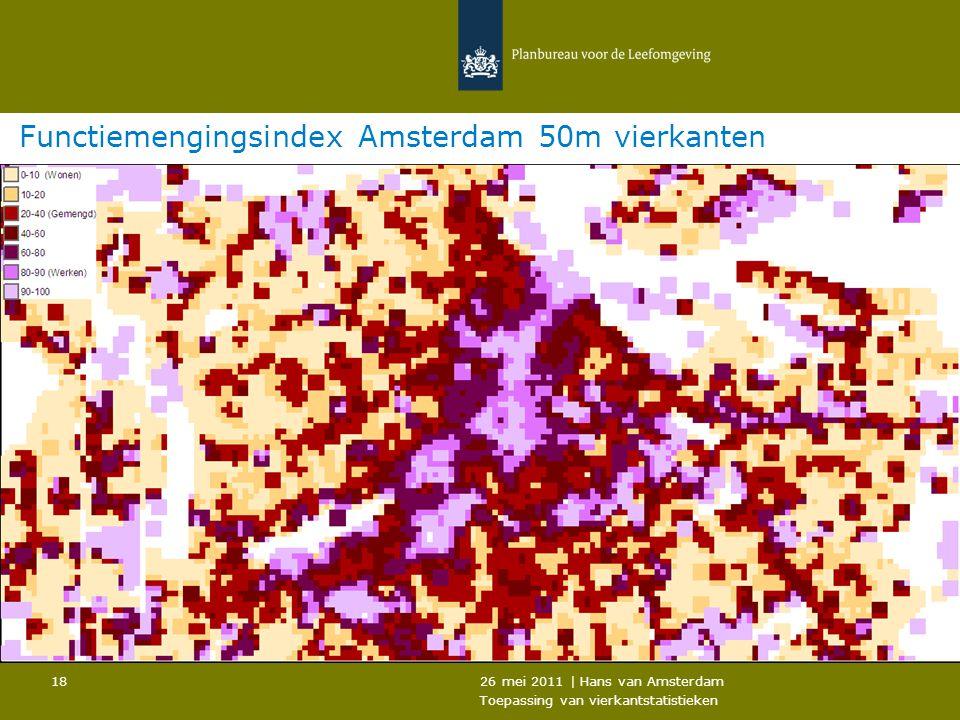 26 mei 2011 | Hans van Amsterdam Toepassing van vierkantstatistieken 18 Functiemengingsindex Amsterdam 50m vierkanten