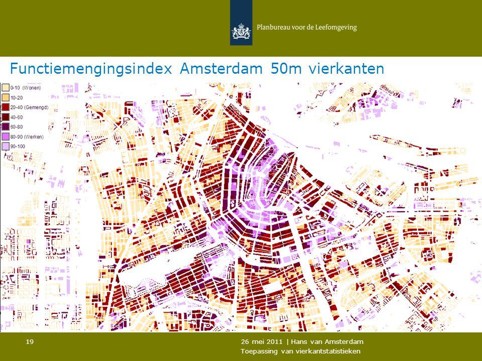 26 mei 2011 | Hans van Amsterdam Toepassing van vierkantstatistieken 19 Functiemengingsindex Amsterdam 50m vierkanten