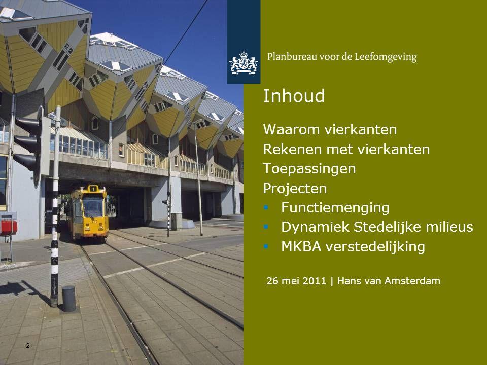 26 mei 2011 | Hans van Amsterdam 2 Inhoud Waarom vierkanten Rekenen met vierkanten Toepassingen Projecten  Functiemenging  Dynamiek Stedelijke milie