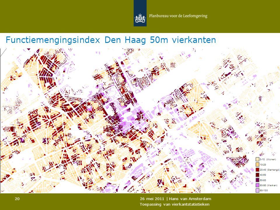 26 mei 2011 | Hans van Amsterdam Toepassing van vierkantstatistieken 20 Functiemengingsindex Den Haag 50m vierkanten