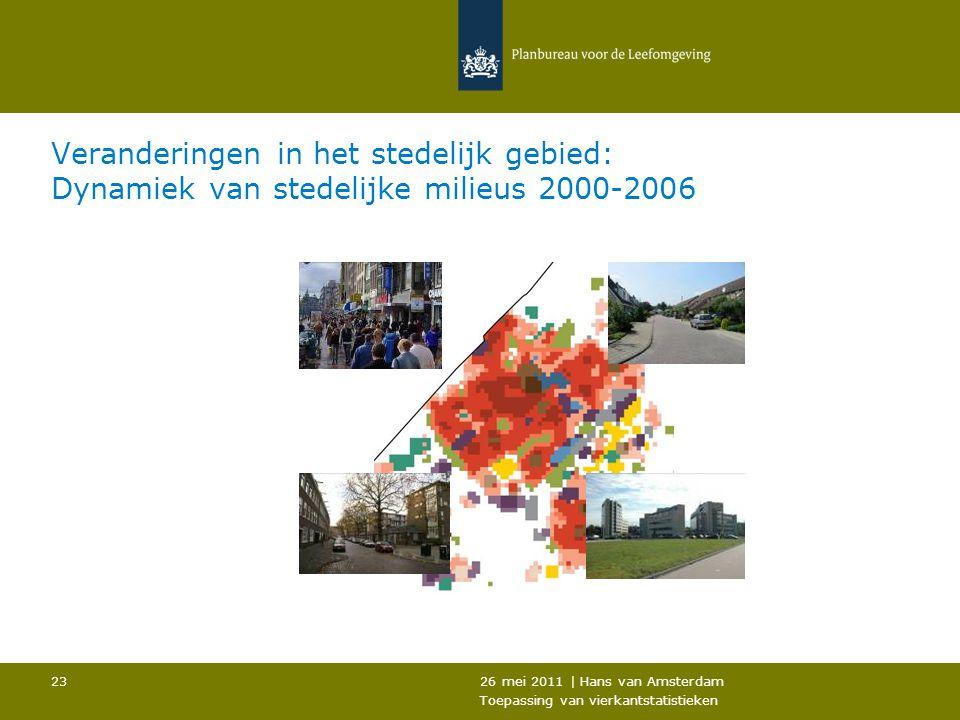 26 mei 2011 | Hans van Amsterdam Toepassing van vierkantstatistieken 23 Veranderingen in het stedelijk gebied: Dynamiek van stedelijke milieus 2000-20
