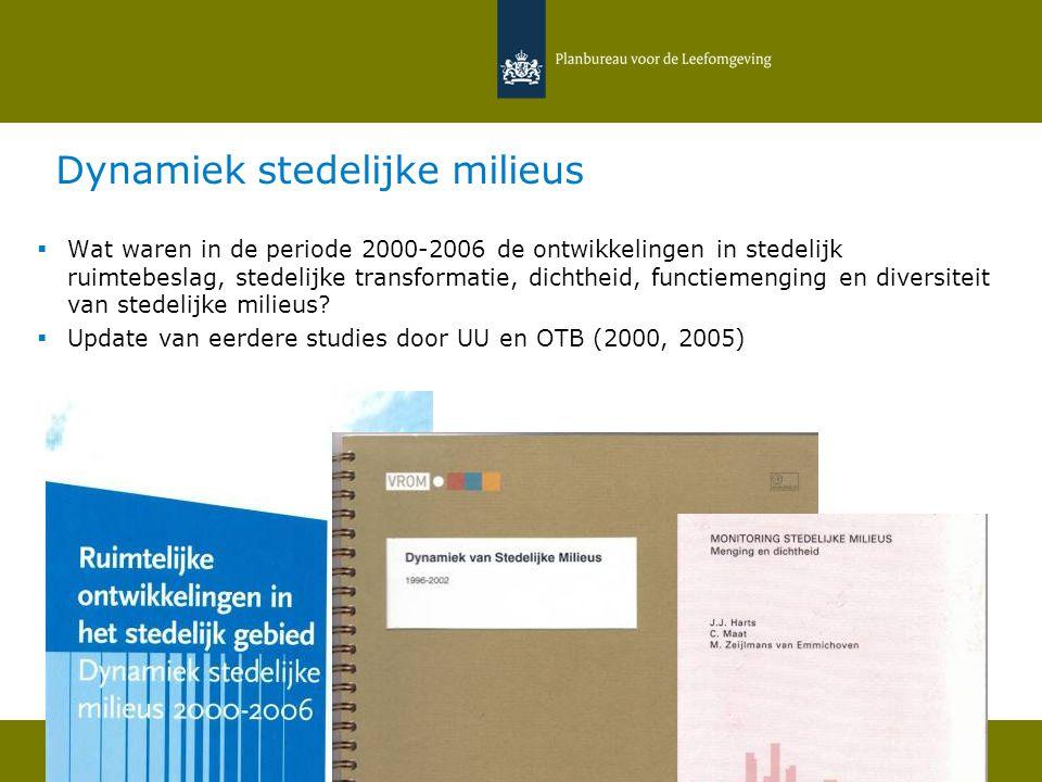 26 mei 2011 | Hans van Amsterdam Toepassing van vierkantstatistieken 24 Dynamiek stedelijke milieus  Wat waren in de periode 2000-2006 de ontwikkelin
