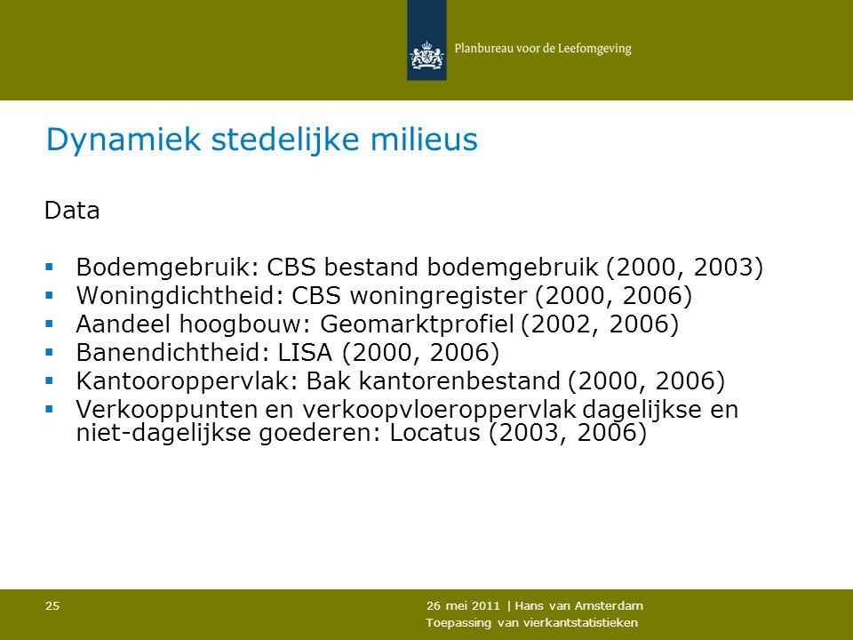 26 mei 2011 | Hans van Amsterdam Toepassing van vierkantstatistieken 25 Dynamiek stedelijke milieus Data  Bodemgebruik: CBS bestand bodemgebruik (200