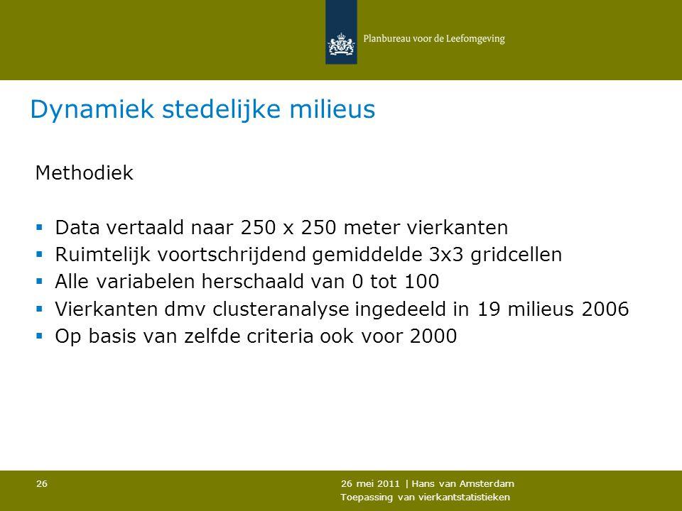 26 mei 2011 | Hans van Amsterdam Toepassing van vierkantstatistieken 26 Dynamiek stedelijke milieus Methodiek  Data vertaald naar 250 x 250 meter vie
