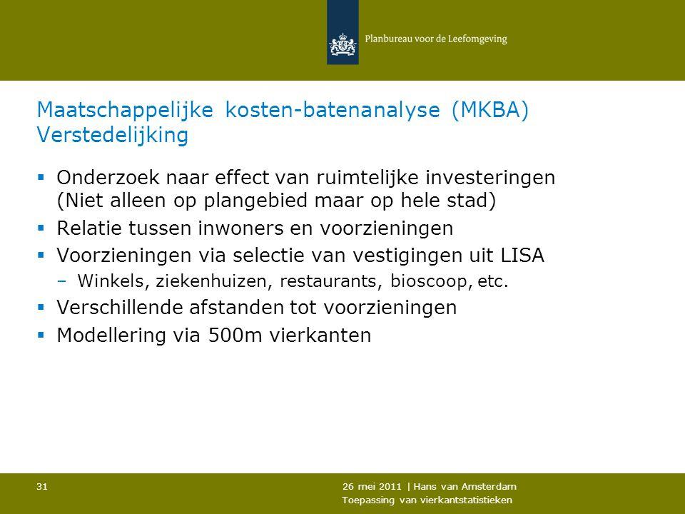 26 mei 2011 | Hans van Amsterdam Toepassing van vierkantstatistieken 31 Maatschappelijke kosten-batenanalyse (MKBA) Verstedelijking  Onderzoek naar e