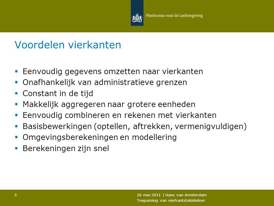 26 mei 2011   Hans van Amsterdam Toepassing van vierkantstatistieken 6 Rekenen met vierkanten  Omgevingsberekeningen (Som, gemiddelde, max, min, etc)  Ruimtelijk voortschrijdend  Vorm en grootte van omgeving te bepalen