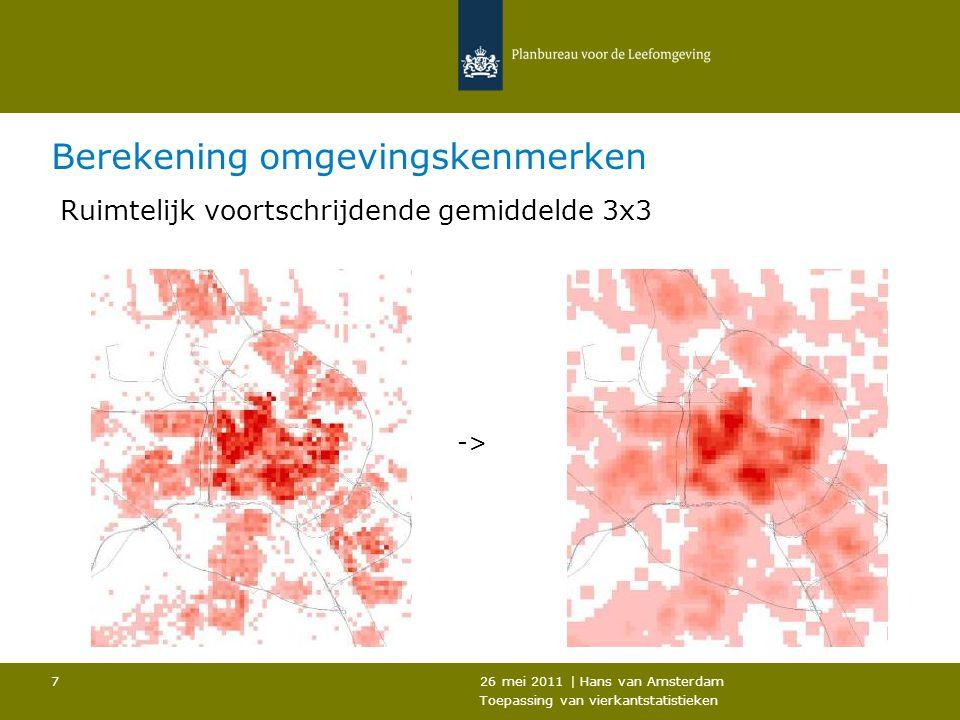26 mei 2011   Hans van Amsterdam Toepassing van vierkantstatistieken 8 Toepassing vierkanten  Analyse ruimtelijke patronen  Gebiedstypering  Berekenen omgevingsvariabelen  Puntlocaties prikken in raster  CBS 500m vierkantbestanden (jaarlijks vanaf 2000) –Omgevingsadressendichtheid (stedelijkheid) –Inwoners