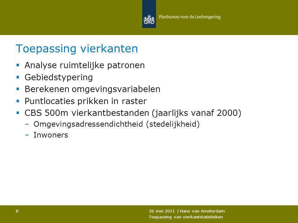 26 mei 2011 | Hans van Amsterdam Toepassing van vierkantstatistieken 8 Toepassing vierkanten  Analyse ruimtelijke patronen  Gebiedstypering  Bereke