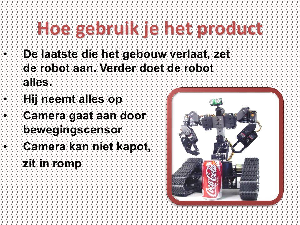 Hoe gebruik je het product De laatste die het gebouw verlaat, zet de robot aan. Verder doet de robot alles. Hij neemt alles op Camera gaat aan door be