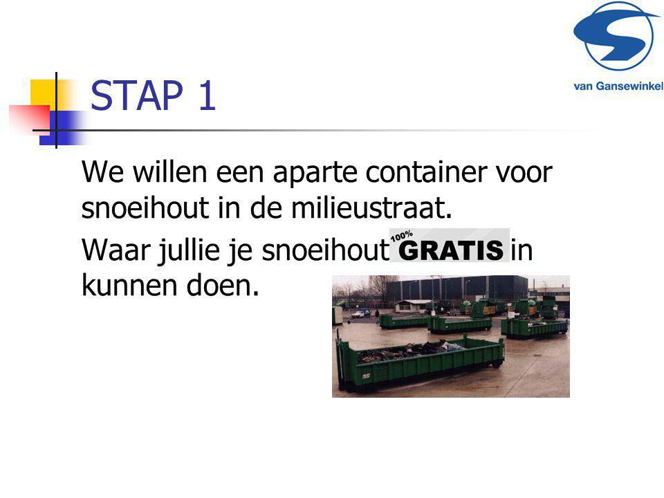 STAP 1 We willen een aparte container voor snoeihout in de milieustraat. Waar jullie je snoeihout in kunnen doen.