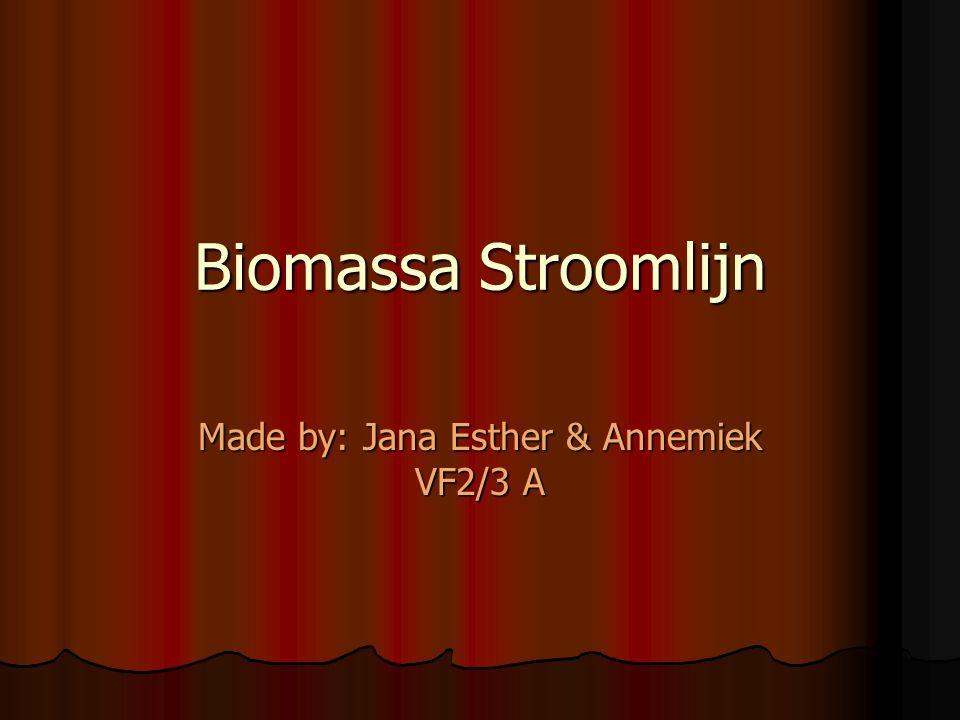 Biomassa Stroomlijn Made by: Jana Esther & Annemiek VF2/3 A