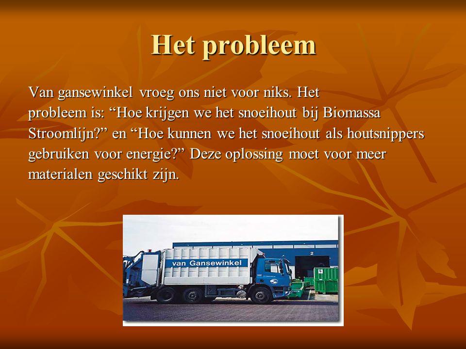 """Het probleem Van gansewinkel vroeg ons niet voor niks. Het probleem is: """"Hoe krijgen we het snoeihout bij Biomassa Stroomlijn?"""" en """"Hoe kunnen we het"""