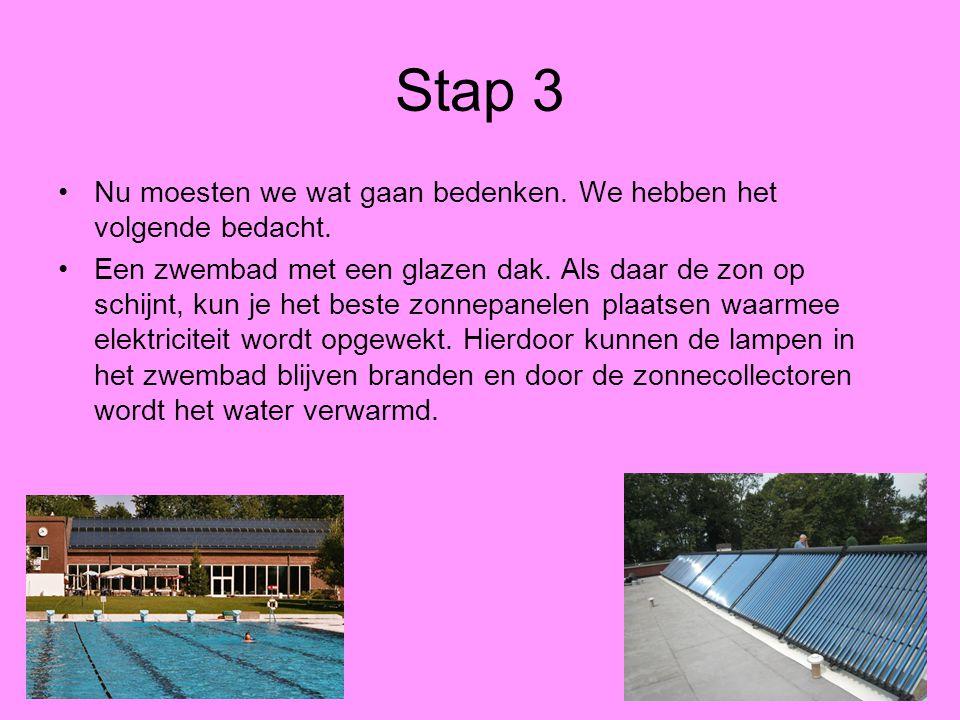 Stap 3 Nu moesten we wat gaan bedenken. We hebben het volgende bedacht. Een zwembad met een glazen dak. Als daar de zon op schijnt, kun je het beste z