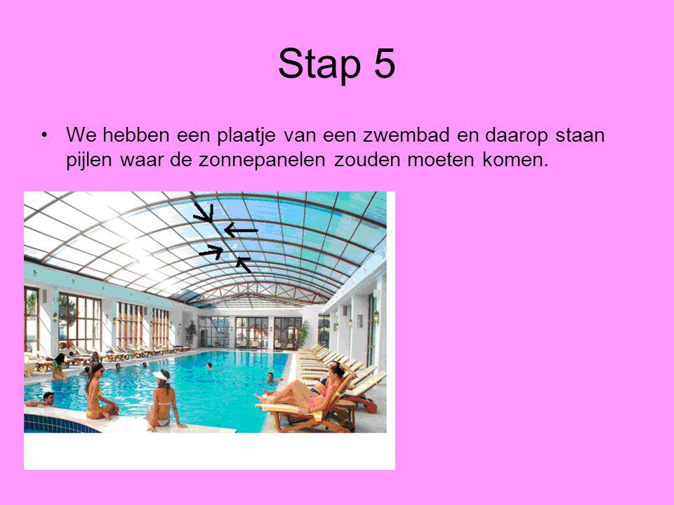 Stap 5 We hebben een plaatje van een zwembad en daarop staan pijlen waar de zonnepanelen zouden moeten komen.