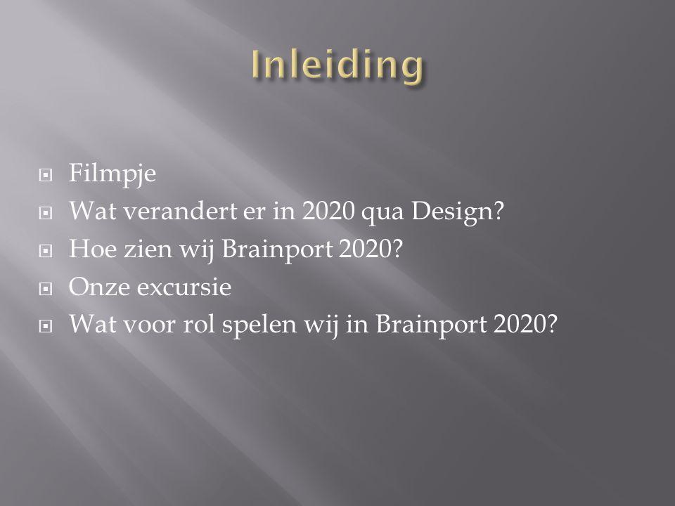 Filmpje  Wat verandert er in 2020 qua Design?  Hoe zien wij Brainport 2020?  Onze excursie  Wat voor rol spelen wij in Brainport 2020?