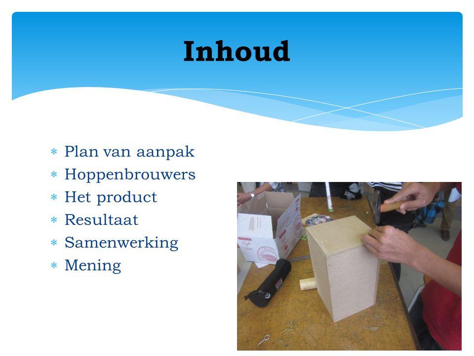  Plan van aanpak  Hoppenbrouwers  Het product  Resultaat  Samenwerking  Mening Inhoud