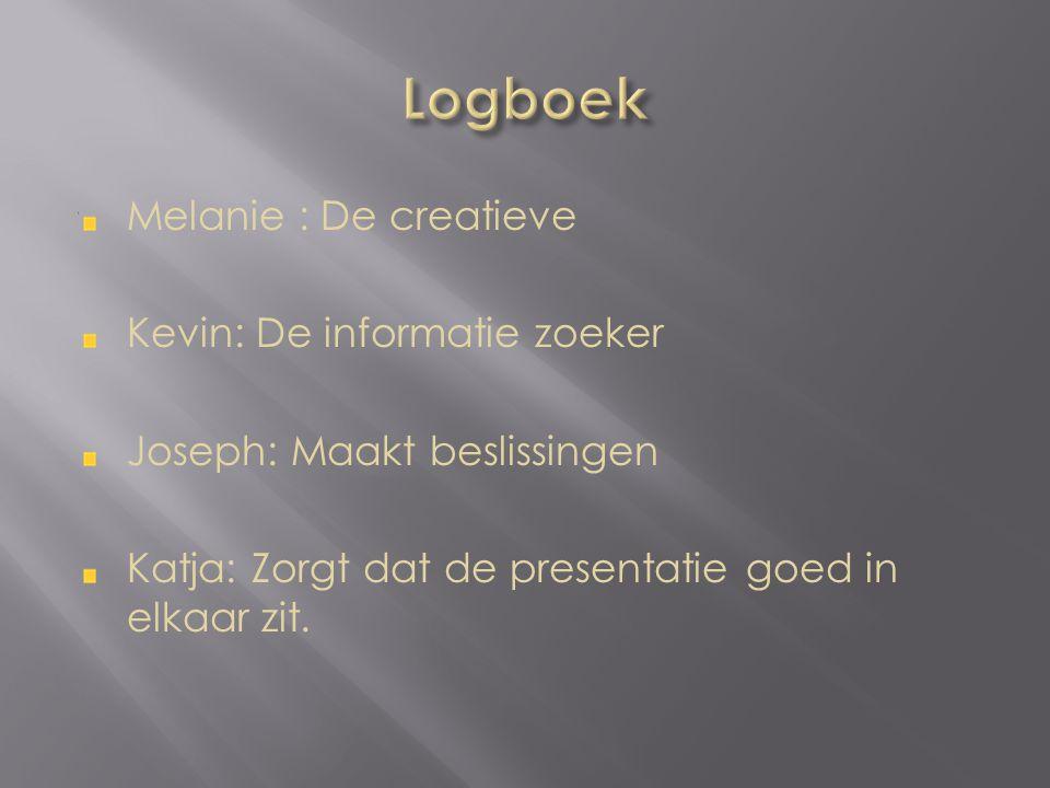 Melanie : De creatieve Kevin: De informatie zoeker Joseph: Maakt beslissingen Katja: Zorgt dat de presentatie goed in elkaar zit.