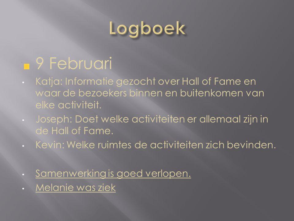 9 Februari Katja: Informatie gezocht over Hall of Fame en waar de bezoekers binnen en buitenkomen van elke activiteit.