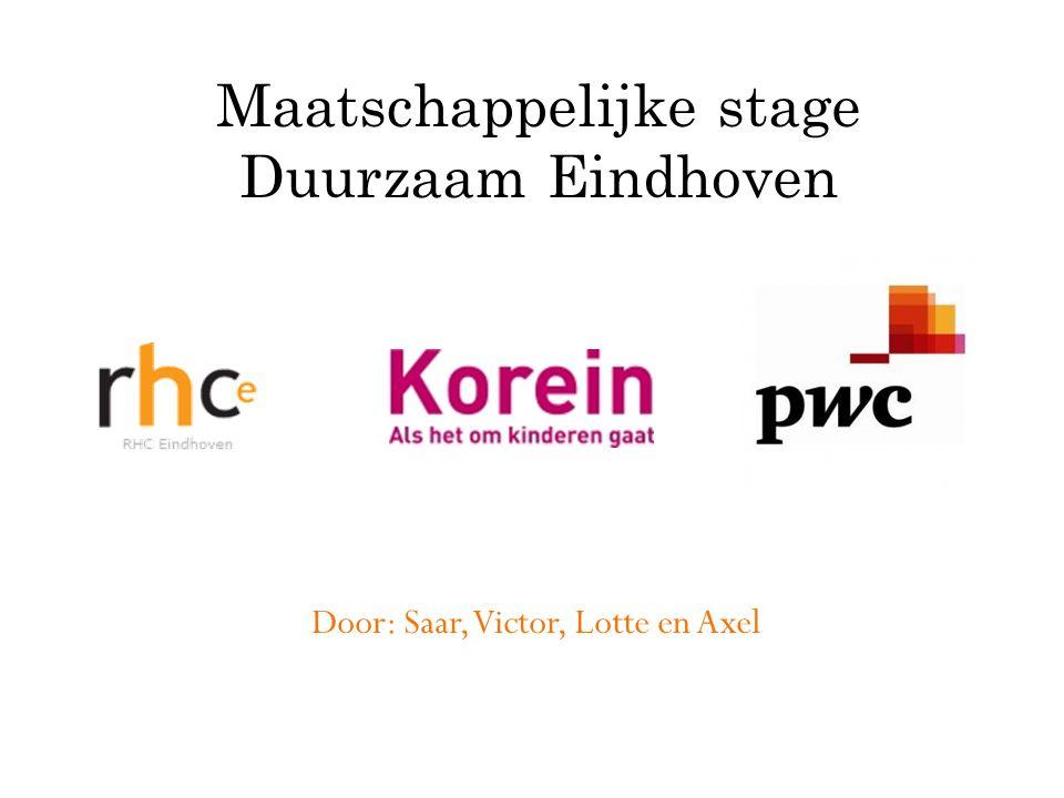 Door: Saar, Victor, Lotte en Axel Maatschappelijke stage Duurzaam Eindhoven