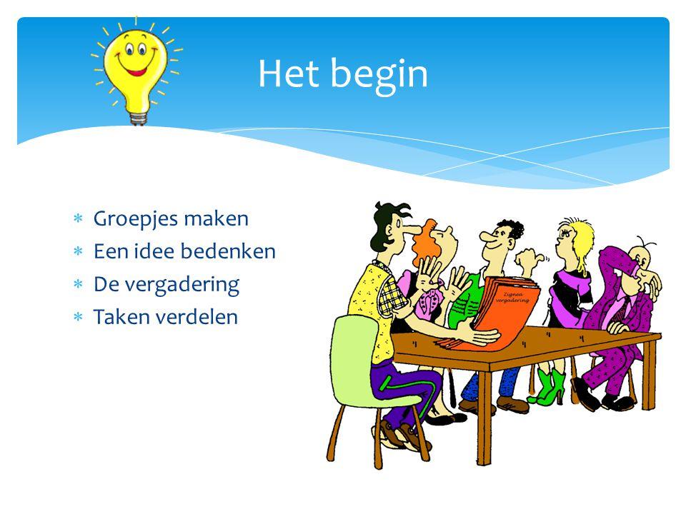  Groepjes maken  Een idee bedenken  De vergadering  Taken verdelen Het begin